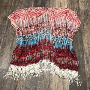 Multicolored Open Front Sheer Top Crochet Fringe